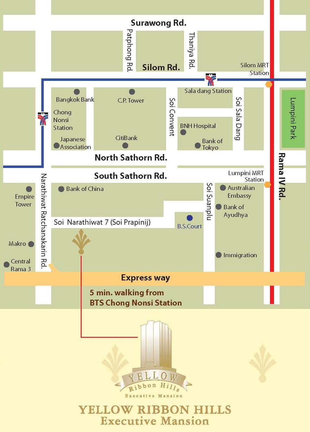 Bangkok Apartment Service Apartment In Sathorn Bangkok Yellow - Us embassy bangkok map